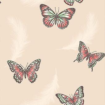 Butterflies Butterfly Wallpaper Feathers Animals Cream Multi Luxury Fine Decor