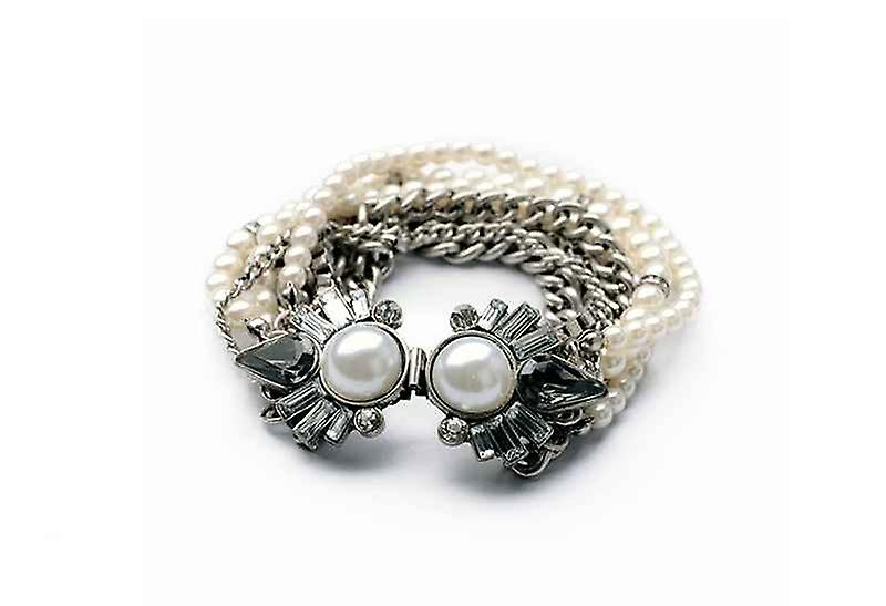Vintage Multilayered Chains Of Lovely Bangle Bracelet, Faux Pearl
