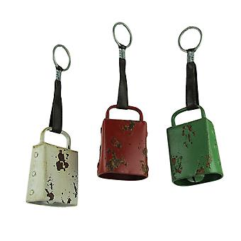 Distressed Vintage metallo appeso Cow Bell Set di 3
