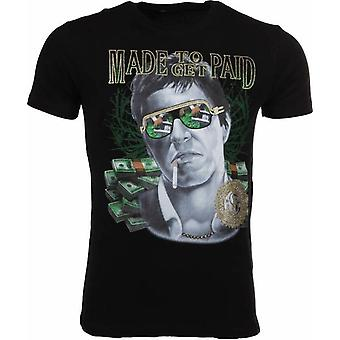 Camiseta hecha para recibir scarface-negro pagado