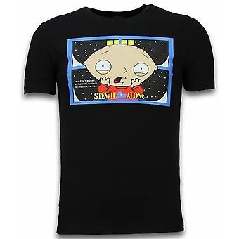 Stewie Home Alone-T-shirt-Negro