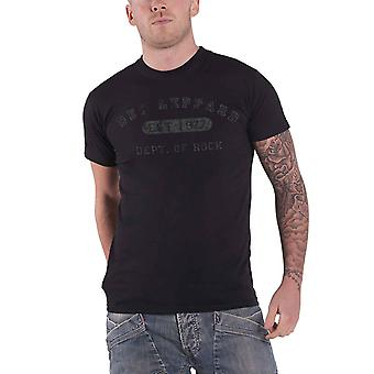 Def Leppard T Shirt Collegiate Logo distressed print new Official Mens Black