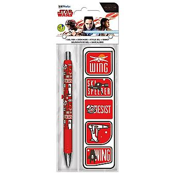 Caneta gel + Bookmark Pack-Star Wars: o último Jedi New iw3595