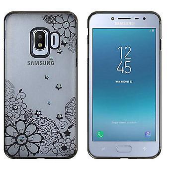 Samsung J2 Pro 2018 tilfelle blomster svart - backcover klar støtfanger utseende