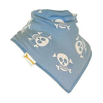 Pale blue & white jolly rogers bandana bib
