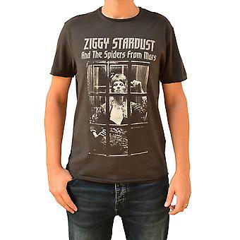 Amplified David Bowie Ziggy Rise & Fall Charcoal Crew Neck T-Shirt