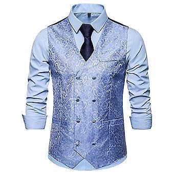 Allthemen mannen ' s double-breasted Business Casual V-hals pak vest 4 kleuren