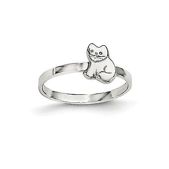 925 Sterling Silver Rh Plated for boys or girls Polished Kitty Cat Ring - Ring Size: 3 to 4
