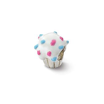 925 Sterling Silver Polished Reflections Enameled Cupcake Bead Charm Pendant Necklace Jewelry Gifts for Women