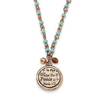 Fancy Kreeft Sluiting Koper toon Aqua Kralen Vredes Hanger 16inch met Ext Ketting Sieraden Geschenken voor vrouwen