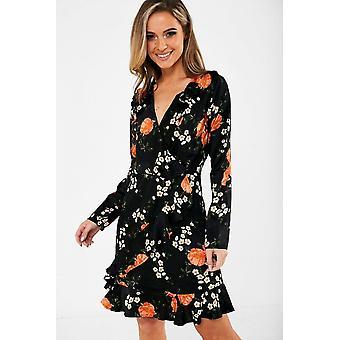 iClothing George Floral Print Wrap Dress In Black-14