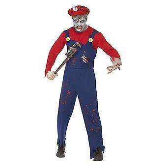 Mens Zombie Plumber Halloween fantasia vestido traje