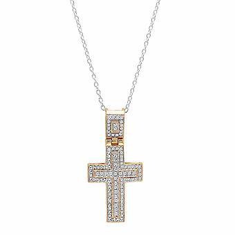 Dazzlingrock kokoelma 0,40 Carat (CTW) 10k pyöreä valkoinen timantti miesten ' s Cross riipus (hopea ketju mukana), keltainen kulta