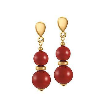 Eeuwige collectie flamenco rode shell Pearl Gold Tone drop clip op oorbellen