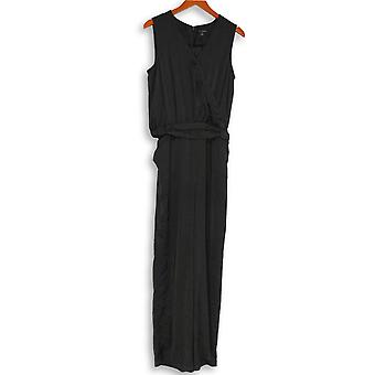 H by Halston Jumpsuits V-Neck Charmeuse Sleeveless Black A274563