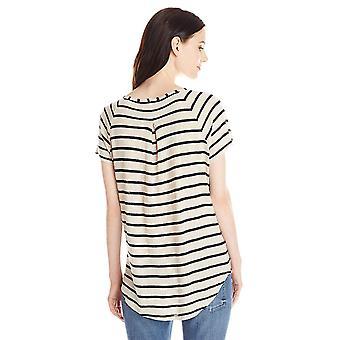 Lucky Brand Women-apos;s Even Stripe Top, Noir, Moyen