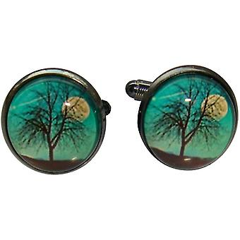 Bassin and Brown Leafless Tree and Moon Cufflinks - Blue/White/Black