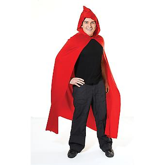 Adults Long Hooded Red Cape Fancy Dress Costume (One Size)