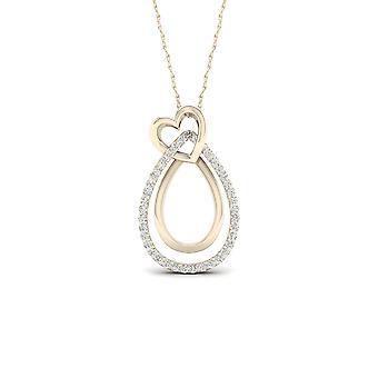 Igi certified 10k yellow gold 0.1ct tdw diamond heart necklace