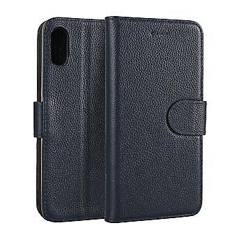 Voor iPhone XS, X Wallet Case, Elegante Mode Cowhide Echte Lederen Cover, Blauw