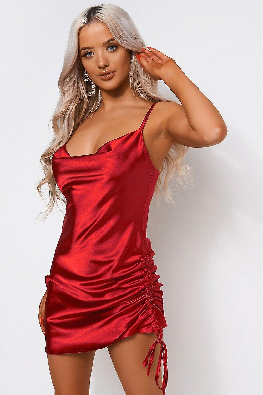 Satin Ruched Slip Dress