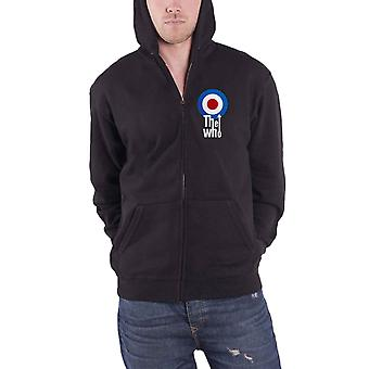 The Who Hoodie Classic Target Band Logo Official Mens New Black Zipped