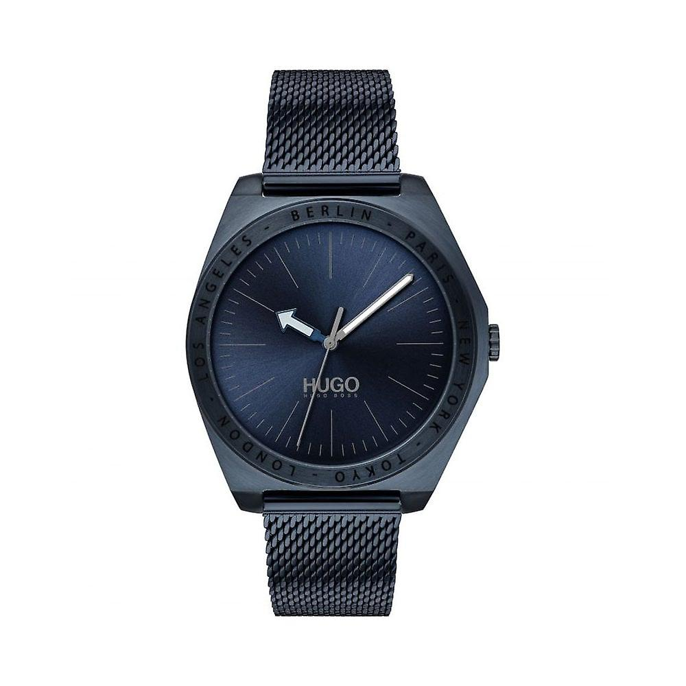 Hugo Mens 'Act' Round Blue Dial Blue IP Mesh Bracelet Watch