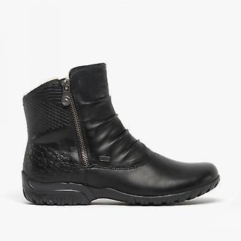 ريكر Z4663-01 تكس السيدات الدافئة اصطف أحذية الشتاء الأسود