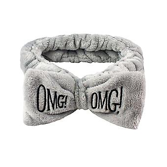 Hairband with bow, OMG - Grey