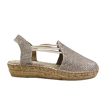 Toni Pons Noa-S Platinum Glittery Textile Womens Pull On Espadrille Shoes