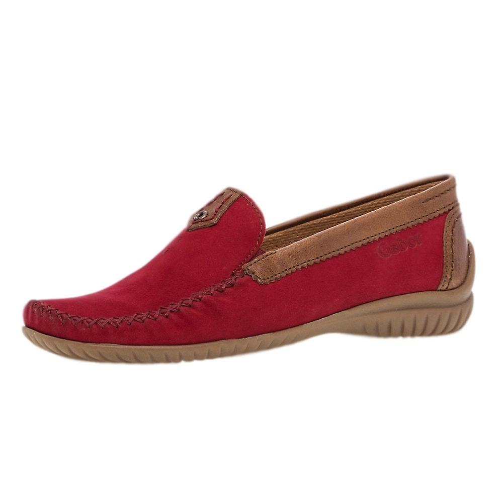 Gabor California Wide Fit Leather Casual Loafer In Red vhEYB