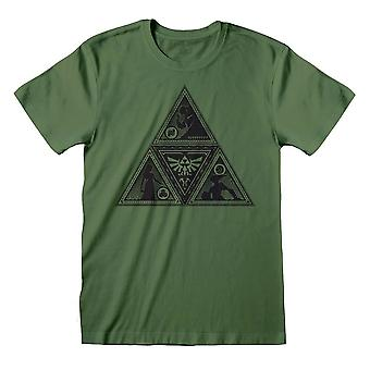 Men's Legend of Zelda Deco Triforce Khaki Vihreä T-paita - Retro Gaming Tee