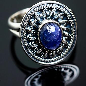 Natural Tanzanite Ring Size 6.5 (925 Sterling Silver)  - Handmade Boho Vintage Jewelry RING999498