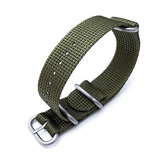 Strapcode n.a.t.o watch strap miltat 20mm, 22mm or 24mm 3 rings zulu military watch strap 3d woven nylon armband - military green, brushed hardware