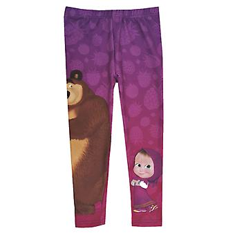 Masha and the bear girls leggings purple