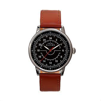 Elevon Gauge Leather-Band Watch - Gunmetal/Light Brown