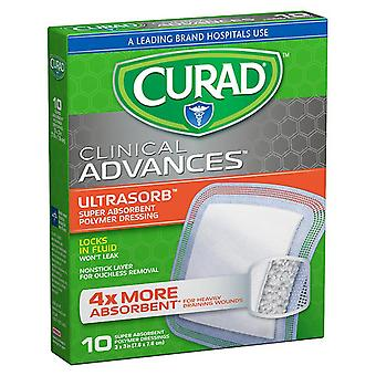 Curad clinical advances ultrasorb, 3 inch x 3 inch, 10 ea