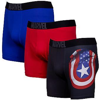 Captain America Performance Mesh Underwear Boxer Briefs 3-Pair Pack