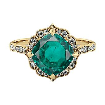 2.25 ctw Emerald Ring with Diamonds 14K Yellow Gold Flower Leaves Halo