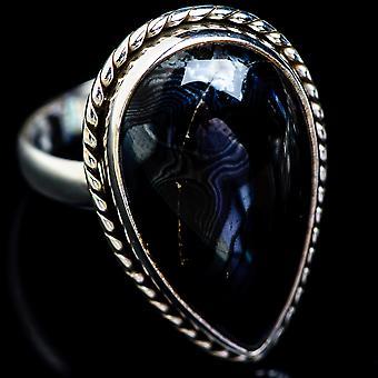 Psilomelane Ring Size 10 (925 Sterling Silver)  - Handmade Boho Vintage Jewelry RING5024