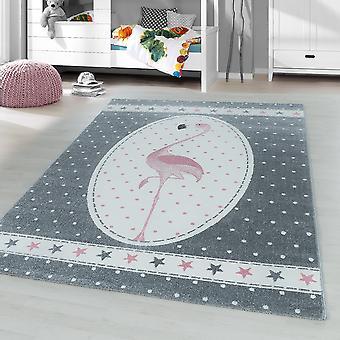 Diseñador para niños Rug Short Flor Flamingo Estrella Vivero Alfombra Gris Rosa