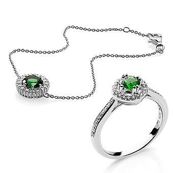 Orphelia Silver 925 Bracelet and Ring With Zirconium and Green Stone