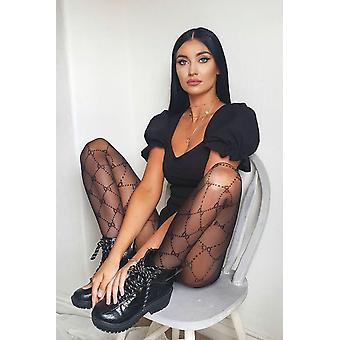 Gio musta kuviollinen sukkahousut
