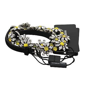 Dolce & Gabbana Black Suede Multicolor Flower Crystal Studs BEL60305-L