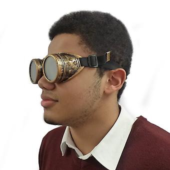 TRIXES Adjustable Steampunk Goggles Party Accessory Fancy Dress Metallic Brass