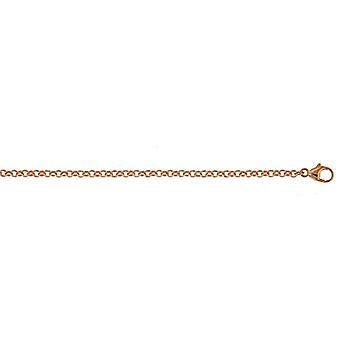 18k Pink Rose Gold Rolo 2.4mm Ketting Ketting Sieraden Geschenken voor vrouwen - Lengte: 16 tot 30