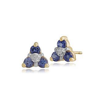 Kukka pyöreä tanzanite & diamond stud korvakorut 9ct keltainen kulta 181E0018339