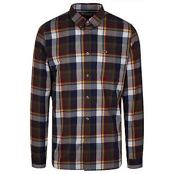 Lacoste العادية تركيب طويل الأكمام فحص قميص