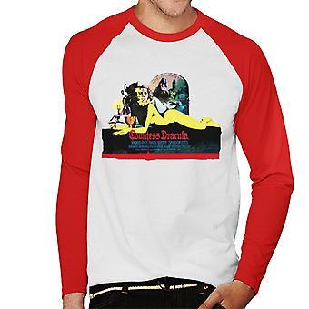 Hammer Horror Films Comtesse Dracula Movie Poster Men-apos;s Baseball Long Sleeved T-Shirt