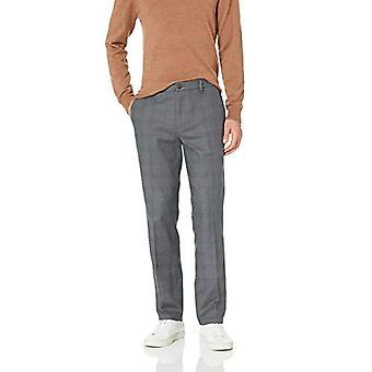Brand - Goodthreads Men's Straight-Fit Wrinkle-Free Comfort Stretch Dress Chino Pant, Grey Glen Plaid 40W x 29L